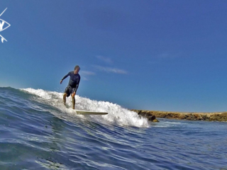 Long boarding from a water shot, Mag Bay Mexico