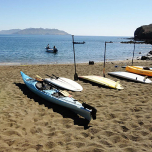 Kayaks and SUP at whale camp, Mag Bay Mexico